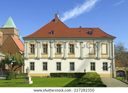 Wroclaw - former canon's house of the cathedral chapter. The first brick house was erected in the 14th century. Best baroque canon's residence on Ostrow Tumski - Cathedral Island, Poland