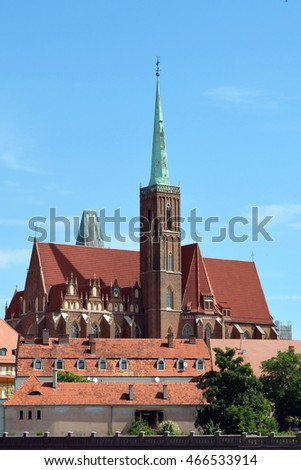 Wroclaw, Lower Silesia, Poland - June 19, 2016: Holy Virgin Mary's Church on the Cathedral Island of Wroclaw in Poland - Ostrow Tumski.