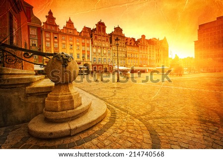 Wroclaw Old Town in retro style - stock photo