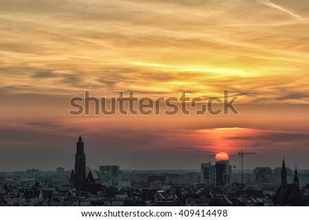 WROCLAW, POLAND - APRIL 02, 2016: Aerial view of Wroclaw. City skyline, Churches and buildings in the old town during a beautiful sunset, April 02, 2016 in Wroclaw, Poland.