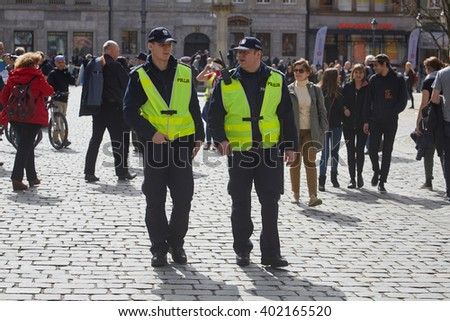 WROCLAW, POLAND - APRIL 03, 2016: Committee for the Defence of Democracy supporters protesting in Wroclaw - stock photo