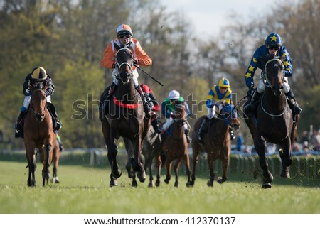 WROCLAW, POLAND - APRIL 24; 2016: International race for 3-year-old horses Group III at Racecourse WTWK Partynice.