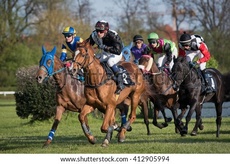 WROCLAW, POLAND - APRIL 24; 2016: International steeplechase for 5-year old and oldest horses at Racecourse WTWK Partynice.