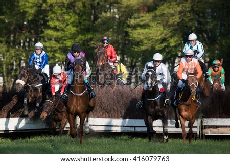 WROCLAW, POLAND - APRIL 24; 2016: Race with fences for 4-year old horses a Racecourse WTWK Partynice.
