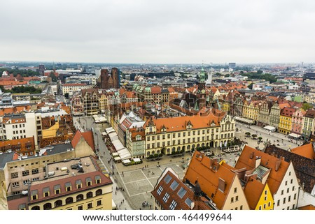 Wroclaw, Poland - August  05, 2016: Top view of the old city in Wroclaw.