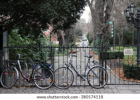 WROCLAW, POLAND - DECEMBER 1, 2015: the entrance to the botanical garden, is closed until spring