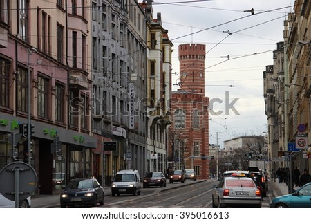 WROCLAW, POLAND - DECEMBER 1, 2015: View of the Courthouse tower and one of the streets
