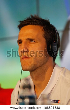 WROCLAW, POLAND - JULY 20: Athletic Bilbao player Carlos Gurpegui at the press conference before Polish Masters soccer tournament on July 20, 2012 in Wroclaw, Poland.
