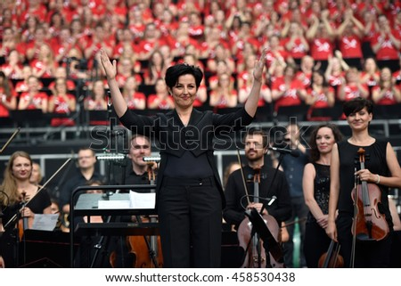 WROCLAW, POLAND - JULY 23, 2016: Conductor Agnieszka Frankow-Zelazny during concert Singing Europe. Concert is part of the Days in the Dioceses of World Youth Day and the European Capitol of Culture.