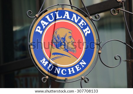 WROCLAW, POLAND - JULY 06, 2015: Paulaner is a German brewery, established in 1634 in Munich. Paulaner ranks number 8 among Germany's best selling breweries.