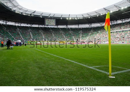WROCLAW, POLAND - JULY 21: Stadium before semifinal Polish Masters tournament   between Slask Wroclaw and Benfica Lisbon 2:4 on July 21, 2012 in Wroclaw, Poland.