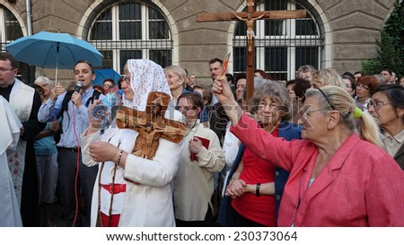 WROCLAW, POLAND - JUNE 27, 2014:  Legal religious manifestation organized by The Church on street , 27 June - stock photo