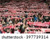 WROCLAW, POLAND - MARCH 26, 2016: Fans of Poland during International Football friendly match Poland vs Finland 5:0. - stock photo