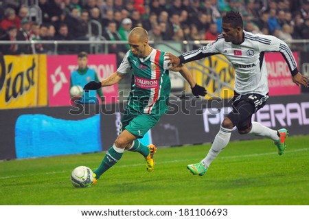 Wroclaw. POLAND - March 09: Match T-Mobile Ekstraklasa between Wks Slask Wroclaw and Legia Warszawa. Flavio Paixao in action on  March 09, 2014 in Wroclaw. Poland.