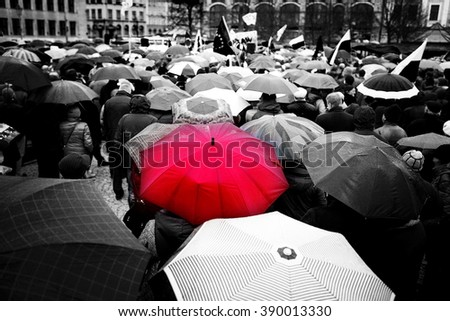 Wroclaw, Poland, March, twelfth, social protest versus devastation of the Constitution, rainy day Polish democracy - stock photo