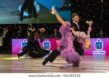 Wroclaw, Poland - May 14, 2016: An unidentified dance couple in dance pose during World Dance Sport Federation European Championship Standard Dance, on May 14 in Wroclaw, Poland - stock photo