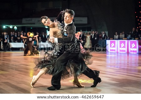 Wroclaw, Poland - May 14, 2016: An unidentified dance couple in dance pose during World Dance Sport Federation European Championship Standard Dance, on May 14 in Wroclaw, Poland