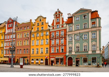 WROCLAW, POLAND - MAY 5, 2015: Architectue of the Market square in Wroclaw, Poland. Wroclaw is the historical capital of Silesia and Lower Silesia