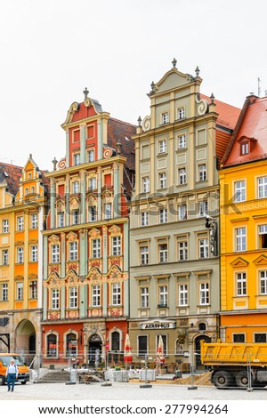 WROCLAW, POLAND - MAY 5, 2015: Colorful house in the historic part in Wroclaw, Poland. Wroclaw is the historical capital of Silesia and Lower Silesia