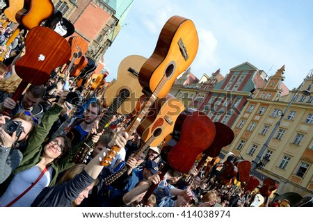 WROCLAW, POLAND - MAY 1: Over 7 thousands guitarists achieve new Guiness Record playing Hey Joe during Thanks Jimi Festival on 1st May 2016 in Wroclaw, Poland.