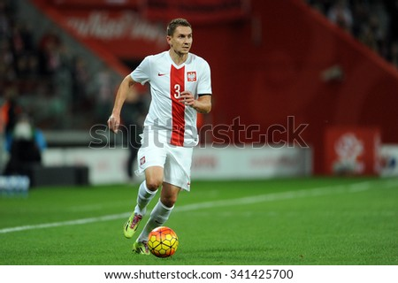 WROCLAW, POLAND - NOVEMBER 17, 2015: EURO 2016 European Championship friendly game Poland - Czech Republic o/p Artur Jedrzejczyk