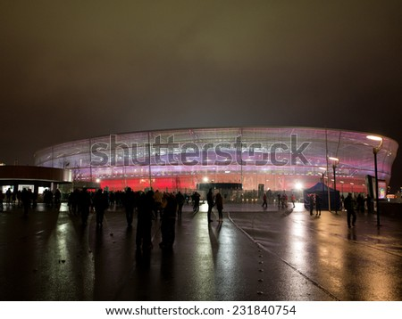 WROCLAW, POLAND - NOVEMBER 18, 2014: Stadium in Wroclaw before match Poland - Switzerland 2:2. - stock photo