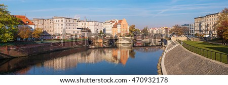 Wroclaw, Poland, 2 October 2015 - Panorama of Wroclaw, view on hotel Tumski and old mill. Wroclaw, Poland, 2 October 2015