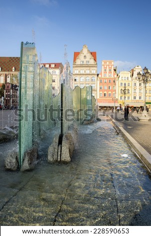 WROCLAW, POLAND - OCTOBER 24, 2014: Wroclaw City center, Fountain and Market Square tenements