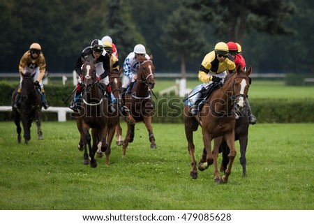 WROCLAW, POLAND - SEPTEMBER 4; 2016: Horse racing - Grand Wroclawska Prize Airport Wroclaw at Racecourse WTWK Partynice.