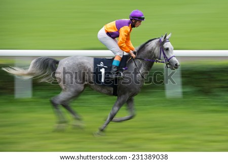 WROCLAW, POLAND - SEPTEMBER 21; 2014: Jockey K. Grzybowski on the horse  Hegra before race for three year old arabian horse in a Racecourse WTWK Partynice. - stock photo