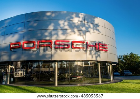 WROCLAW, POLAND- SEPTEMBER 17th, 2016: Building of polish Porsche dealer in Wroclaw. Porsche is a German automobile manufacturer specializing in high-performance sports cars, SUVs and sedans.