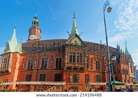 WROCLAW, POLAND - SEPTEMBER 25, 2010: The best place to get enjoy from the local beer is old Brewery Pivnica Swidnicka, located in Old Town Hall next to the flower market, on September 25 in Wroclaw. - stock photo