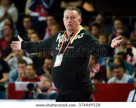 Wroclaw, Poland. 29th January, 2016. European Championships in Men's Handball, EHF EURO 2016 match for 7th place Poland vs Sweden 26:24. Team of Poland before match. Coach of Poland Michael Biegler.