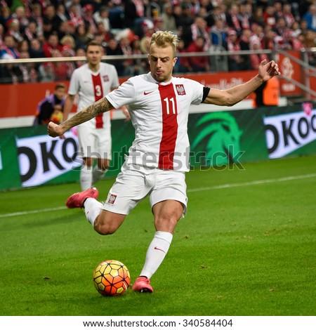 Wroclaw, Poland. 17th November, 2015. International Football friendly match: Poland v Czech Republic. In action Kamil Grosicki. - stock photo