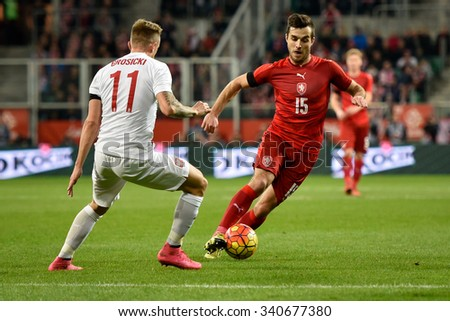 Wroclaw, Poland. 17th November, 2015. International Football friendly match: Poland v Czech Republic. In action Martin Pospisil. - stock photo