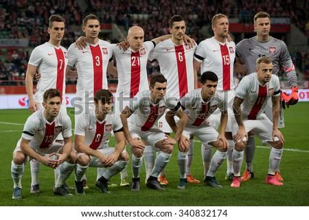 Wroclaw, Poland. 17th November, 2015. International Football friendly match: Poland v Czech Republic. Team of Poland before match. - stock photo