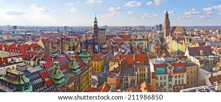 Wroclaw town square view during early spring - stock photo