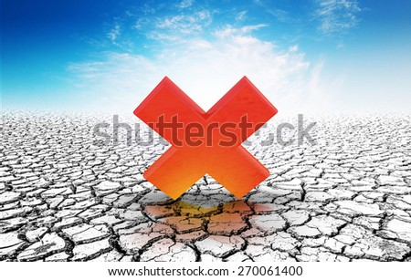 wrong icon on soil crack.Earth day concept - stock photo