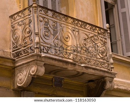 Wrought iron balcony in Greece