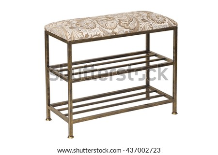 wrought iron bench with soft textile seat on a white background. Hallway furniture.