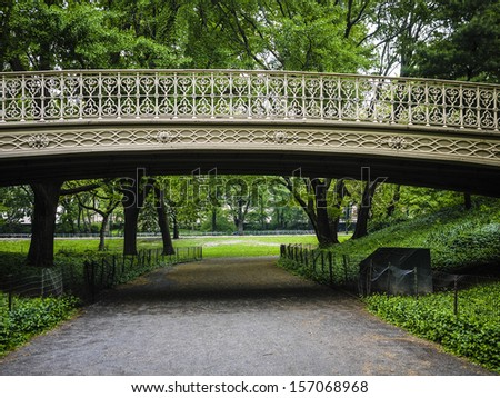 Wrought iron bridge in Central Park, New York City - stock photo