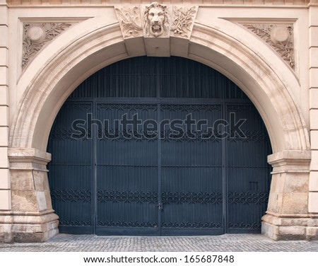 Wrought iron gate - stock photo