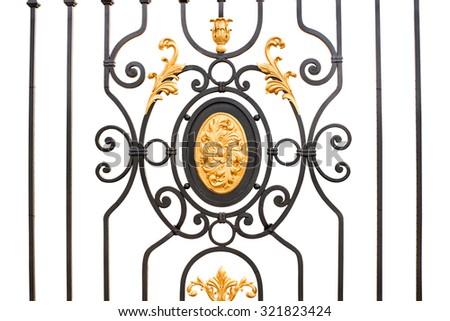 wrought-iron gates on a white background - stock photo