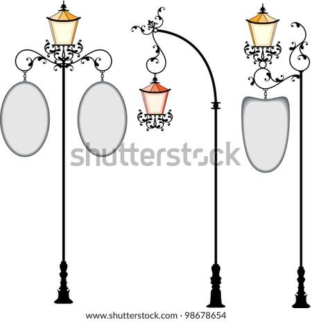 Wrought Iron signage with Lamp - stock photo