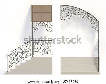 Wrought iron stairs railing and canopy with leaves - stock photo