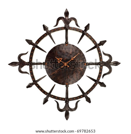 wrought iron wall clock isolated on white background - stock photo