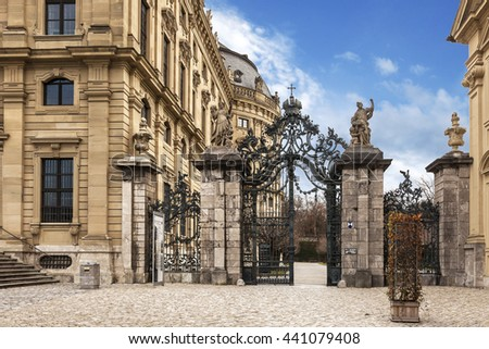 Wuerzburg, Residenz and Portal of the Garden at Wintertime, Franconia, Bavaria, Germany - stock photo