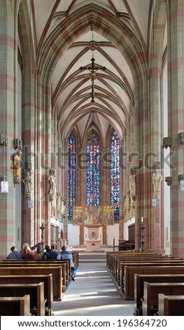 WURZBURG, GERMANY - SEPTEMBER 29, 2013: Interior of Marienkapelle (St. Mary Chapel). The gothic chapel was built in 1377-1480, severely damaged by bombing on March 16, 1945 and restored in 1948-1961. - stock photo
