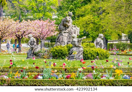 Wurzburg Residenz and colorful gardens, Germany - stock photo