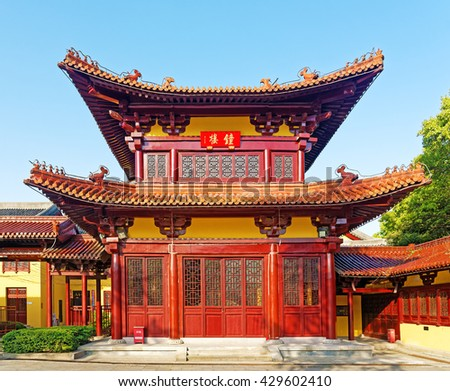 WUXI, CHINA - April 18, 2016: Chinese traditional monastery at Ling Shan Buddhist Park. - stock photo